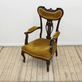 Mahogany Mustard Velvet Edwardian Open Arm Chair