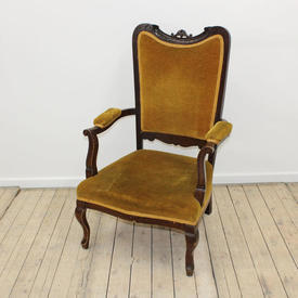 Mahogany Mustard Velvet Edwardian Gents Chair with Upholstered Back