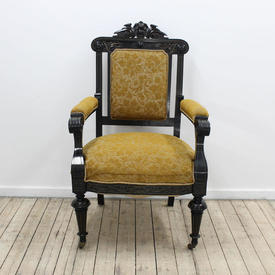 Ebonised Frame Gold Embosed Upholstered Open Armchair
