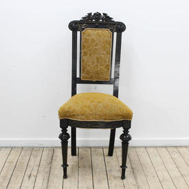 Ebonised Frame Gold Embosed Upholstered Occassional Chair