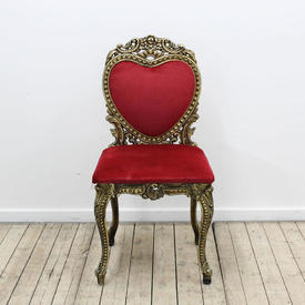 Brass Antique Gold Heart Shape Back Ladies Wedding Chair in Red Velvet Seat & Back