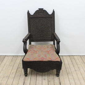 Carved Wooden Moorish Chair with Serpent Arms & Pink/Gold Upholstered Seat Pad