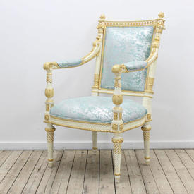 Cream & Gilt Open Arm Chair with Pale Blue Damask Uphostery