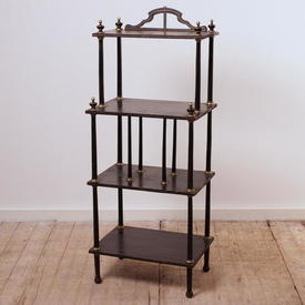 "3'5"" Black & Gilt 4-Tier Chinese Whatnot"