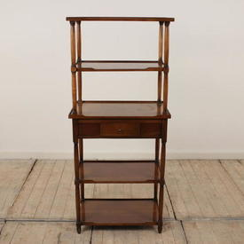 """4'2"""" 5-Tier Fruitwood French Provincial 1 Drawer Whatnot"""