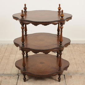 """2'5"""" 3-Tier Shaped Whatnot with Leather insets"""