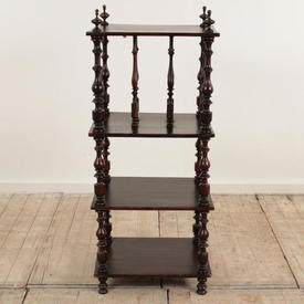 "3'2"" Oak 4-Tier Spindle Victorian Whatnot"