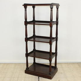 "4'8"" Mahogany 5-Tier Whatnot on Plinth Base"