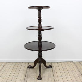 "4'2"" Mahogany Circular 3-Tier Dumb Waiter Serving Table"