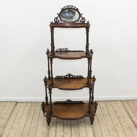"4'9"" Walnut Victorian Style 4 Tier Whatnot with Mirror Back"