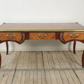 6' x  3' Louis 3 Drawer Writing Table with Chestnut Leather  Top