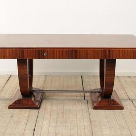 6' x  3' Rosewood Deco 2 Drawer Writing Desk on Lyre Base