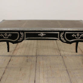 Black Lacquered Louis Style Desk with Silver Ormulu Mounts