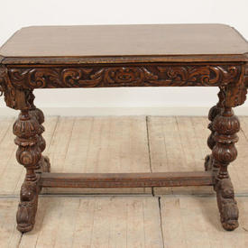 "3'3"" Carved Oak Single Drawer Dolphin Pattern Writing Table"