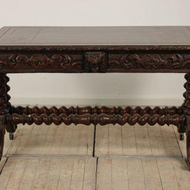 "4'3"" x  2'2"" Carved Oak Writing Desk with Red Leather Top & Barley Twist Legs"