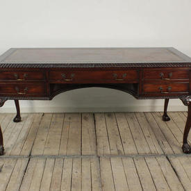 "5'4"" x  2'8"" Mahogany Chippendale Writing Table with Burgundy Leather Top"