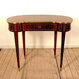"3'3"" Small Mahogany & Kingwood Kidney Shaped Ladies Writing Table with Single Drawer"