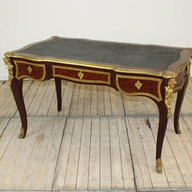 "4'4"" Mah & Brass 3 Drawer Louis Style Writing Table with Black Leather Top"