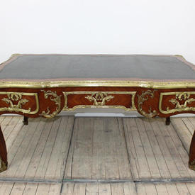 "5'9"" x  3' Kingwood & Heavily Embellished with Brass Bureau Plat Desk"
