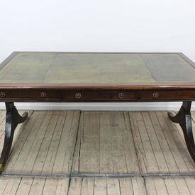 "5'6"" Mahogany Writing Desk with Green Leather inset Top on Twin End Splayed Legs"