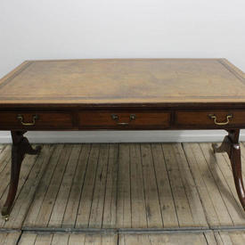 "5'1"" Light Mahogany Writing Desk with Beige Leather inset Top on Twin End Splayed Legs"