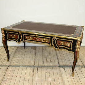 "5'3"" x  3' Red, Black & Gold Boulle Writing Table"