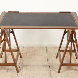 Fruitwood Architects Drawing Board Trestle Table with Black Leather insert