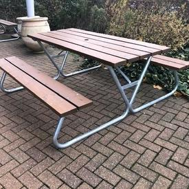 174Cm Wooden Slatted Table with Benches on Steel Tubular Frame