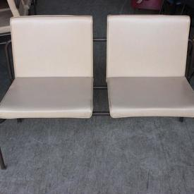 Cream And Brown Leg 60'S 2 Seater Bench