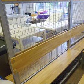5' Beech &Ali Double Sided Mesh Centre Changing Room Benches