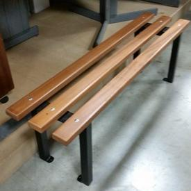 120Cm Cherrywood 3 Slat Bench on Black Metal Frame