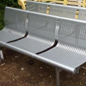 Metal 3 Seat Perforated Bench
