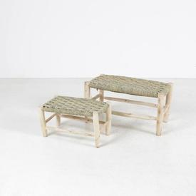 Small Rect Twisted Straw Seat Unfinsihed Wooden Frame Bench
