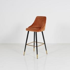 Orange Velvet Buttoned Back Black & Brass Splay Leg High Stool
