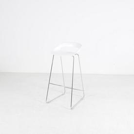 White Open Back Curved Seat Bar Stool on Chrome Base