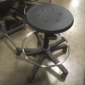 Low Black Metal And Rubber Perforated Seat 5 Prong Base ADjustable Stool