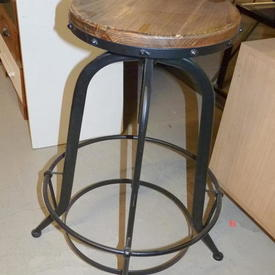 Black Metal Bobble Foot Base Scuffed Wooden Top Barstool