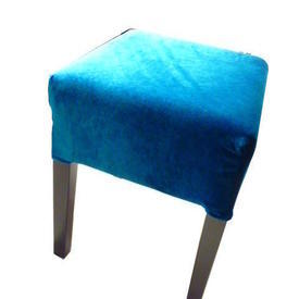 Assorted Coloured Velour Seat Black Leg Low Stool