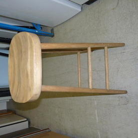 Tall Solid Oak Curved Seat Stool