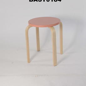 Birch Leg/Circ Pink Seat Low Stool