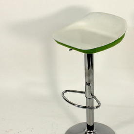 White & Green Lacquer ADjustable Height Barstool