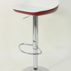 White & Red Lacquer ADjustable Height Barstool
