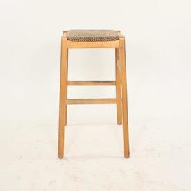 Dark Beech And Oatmeal Fabric Top Kitchen Stool