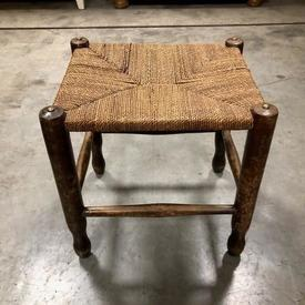 Low Rush Seat Wooden Frame Stool