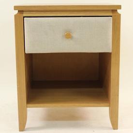 Stuart Jones Oak & Beige Fabric Bedside Cabinet