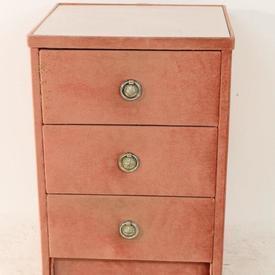 Pink Velour 3 Drawer Bedside Cabs