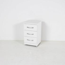 37Cm White 3 Drawer Nova Bedside Cabinet with D Shape Chrome Handles