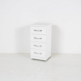 37Cm White 4 Drawer Nova Bedside Cabinet with D Shape Chrome Handles