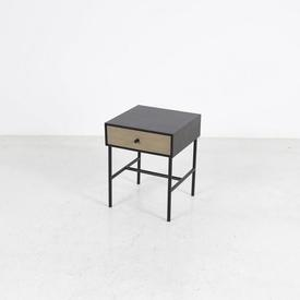 Black Oak with Limed Oak Drawer Tubular Metal Frame with Underbar Bedside Table