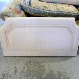 4' Cream Satin Effect Fabric Padded Headboard